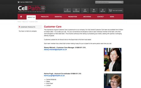 Screenshot of Support Page cellpath.co.uk - Customer Care - About Us - captured Nov. 1, 2014
