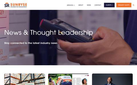 Screenshot of Press Page sunryseinfo.com - news — Sunryse Information Management - captured Nov. 10, 2017