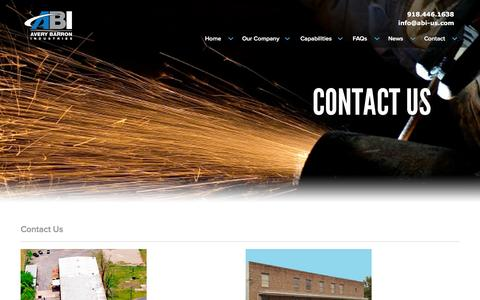 Screenshot of Contact Page abi-us.com - Contact | Avery Barron Industries - captured Feb. 6, 2016