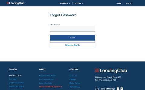 Forgot Password | LendingClub