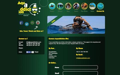 Screenshot of Contact Page aquaddiction.com - Aquaddiction Dive | Contacy Us - captured Feb. 6, 2016