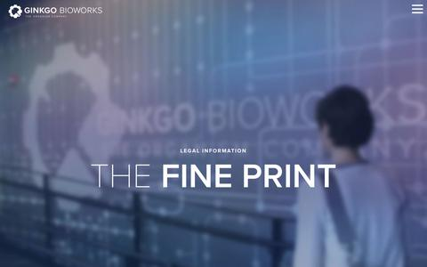 Screenshot of Terms Page ginkgobioworks.com - The Fine Print - Ginkgo Bioworks - captured Nov. 7, 2016