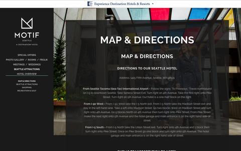 Screenshot of Maps & Directions Page motifseattle.com - Hotels in Seattle WA Downtown | Motif Seattle - Directions | Downtown Seattle Hotels - captured Oct. 26, 2014