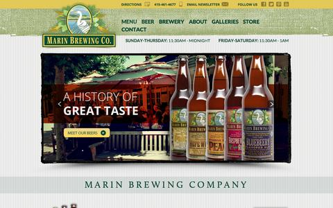 Screenshot of Home Page marinbrewing.com - Marin Brewing Company - captured Oct. 4, 2014