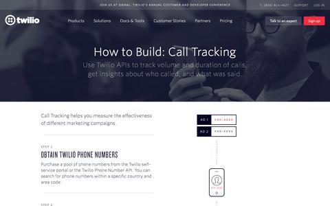 Screenshot of Case Studies Page twilio.com - How to Build: Call Tracking - captured Nov. 28, 2019