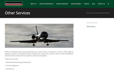 Screenshot of Services Page registeranaircraft.com - Other Services - Register An Aircraft - captured Oct. 21, 2017
