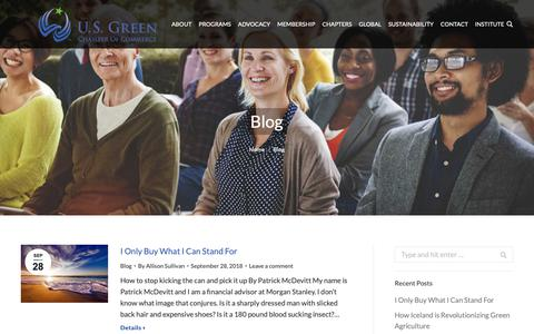 Screenshot of Blog usgreenchamber.com - Blog | U.S. Green Chamber of Commerce - captured Sept. 30, 2018