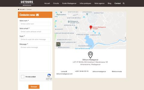 Screenshot of Contact Page voyagemadagascar.com - Contact - Détours Madagascar - captured Dec. 19, 2018