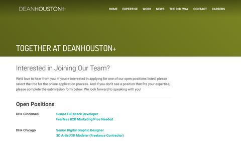 Screenshot of Jobs Page deanhouston.com - Careers | DeanHouston+ - captured Aug. 20, 2018