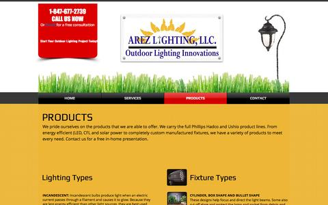 Screenshot of About Page arezlightingllc.com - Arez Lighting | Products - captured May 30, 2017