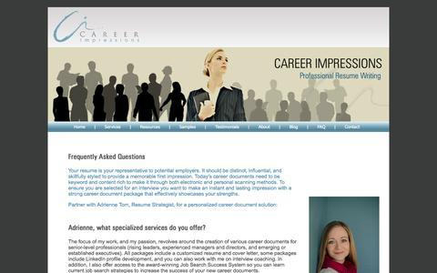 Screenshot of FAQ Page careerimpressions.ca - Career Impressions   Canadian Resume Writing   Canadian Executive Resume Writer   Calgary Resume Writer - captured Sept. 30, 2014