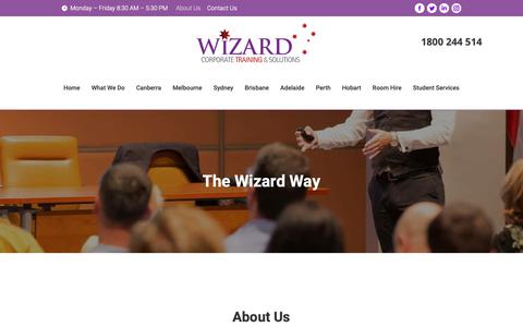 Screenshot of About Page wizardcorporatetraining.com.au - About Us | Wizard Corporate Training & Solutions - captured Oct. 20, 2018
