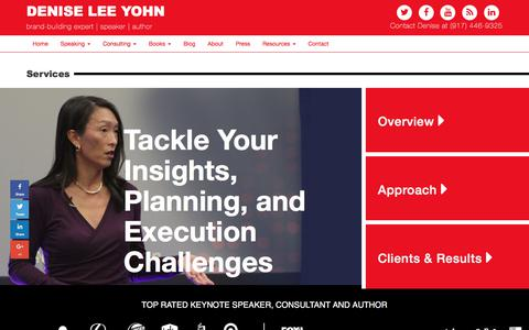 Screenshot of Services Page deniseleeyohn.com - Brand Consulting | Services | Brand Strategy | Denise Lee Yohn - captured Oct. 30, 2017