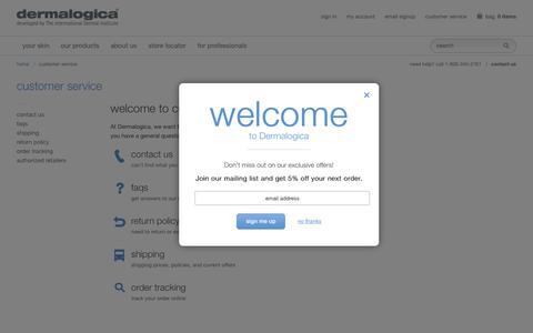 Screenshot of Support Page dermalogica.com - Customer Service - Dermalogica - captured Aug. 1, 2016