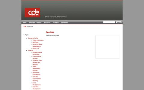 Screenshot of Services Page cde.com.mv - Services «  CDE Consulting - captured Oct. 2, 2014