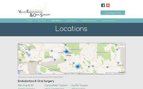Screenshot of Contact Page Locations Page valleyendodontic.com - Locations | Valley Endodontics & Oral Surgery - captured Oct. 23, 2014