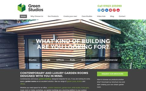 Screenshot of Home Page green-studios.com - Garden Rooms | Garden Buildings | Green Studios - captured Oct. 6, 2014