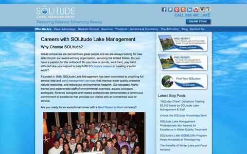 Screenshot of Jobs Page solitudelakemanagement.com - Careers with SOLitude Lake Management - captured Dec. 19, 2015