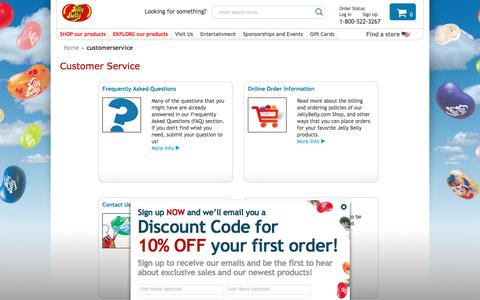 Screenshot of Support Page jellybelly.com - Customer Service  |  Jelly Belly Candy Company - captured Aug. 27, 2016