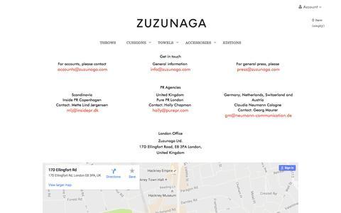 Screenshot of Contact Page zuzunaga.com - Contact - Zuzunaga - captured Aug. 12, 2016