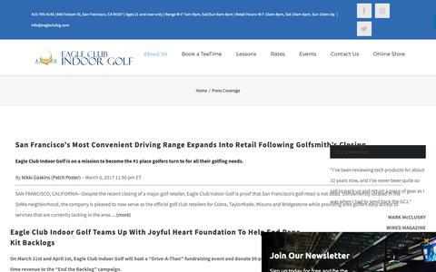 Screenshot of Press Page eagleclubig.com - Golf Driving Range San Francisco, Golf Instruction, Indoor Golf Course - captured Sept. 26, 2018