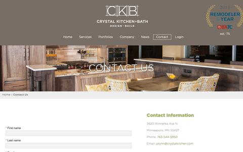 Screenshot of Contact Page crystalkitchen.com - Contact Us | Crystal Kitchen + Bath - captured Sept. 30, 2018