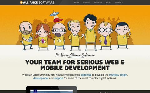 Screenshot of Home Page alliancesoftware.com.au - Alliance Software, Melbourne's Specialist in Custom Web DesignAlliance Software - captured Oct. 4, 2014