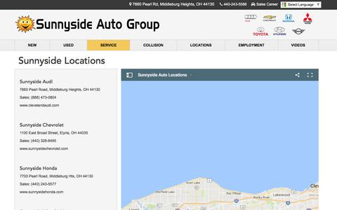 Screenshot of Locations Page sunnysideauto.com - North Olmstead OH Audi Chevrolet Honda Mitsubishi Toyota Dealer - captured Dec. 2, 2016