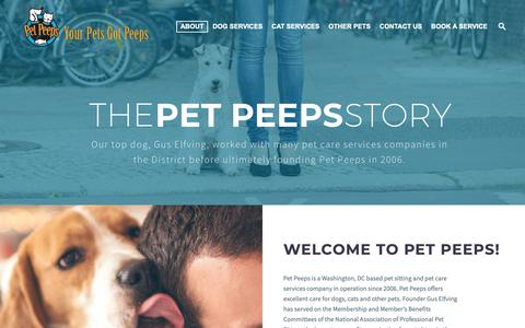 Screenshot of About Page petpeeps.biz - Pet Peeps - Our Story - captured Dec. 8, 2018