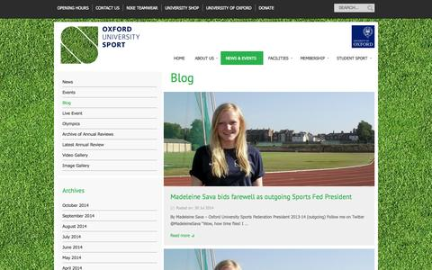 Screenshot of Blog ox.ac.uk - Blog | Oxford University Sport - captured Oct. 26, 2014