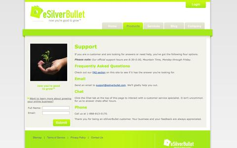 Screenshot of Support Page esilverbullet.com - Customer Support: eSilverBullet - captured Oct. 10, 2014