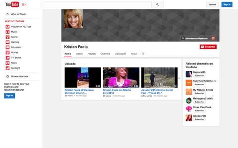 Screenshot of YouTube Page youtube.com - Kristen Feola  - YouTube - captured Oct. 23, 2014