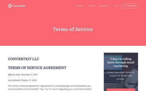 Screenshot of Terms Page convertkit.com - Terms of Service - ConvertKit - captured Jan. 24, 2020