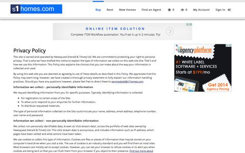 Screenshot of Privacy Page s1homes.com - Privacy Policy - s1homes.com - captured Sept. 23, 2014