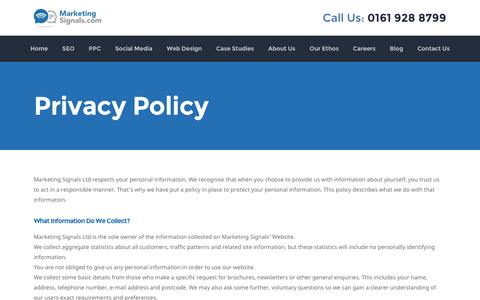 Screenshot of Privacy Page marketingsignals.com - Privacy Policy | Marketing Signals - captured Aug. 25, 2016