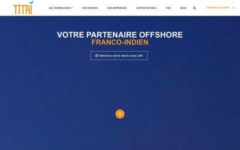 Screenshot of Home Page titri.fr - TITRI - Services offshore en data & communication digitale - captured Oct. 7, 2014