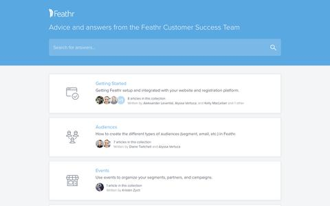 Screenshot of Support Page feathr.co - Feathr Help - captured May 9, 2017