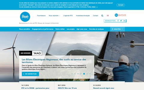 Screenshot of Home Page Site Map Page rte-france.com - RTE France - captured Nov. 16, 2018