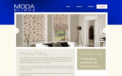 Screenshot of Privacy Page modablinds.co.uk - Contact Us - MODA blinds & shutters, Swindon - captured Oct. 7, 2014