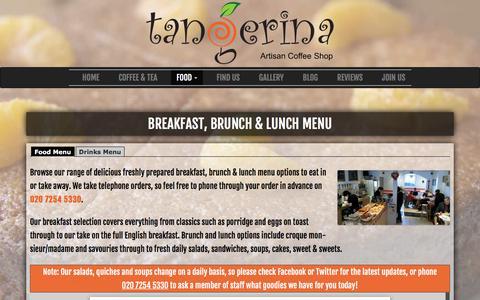 Screenshot of Menu Page tangerina.co.uk - Our Breakfast, Brunch & Lunch Menu | Tangerina N16 - captured Feb. 17, 2016