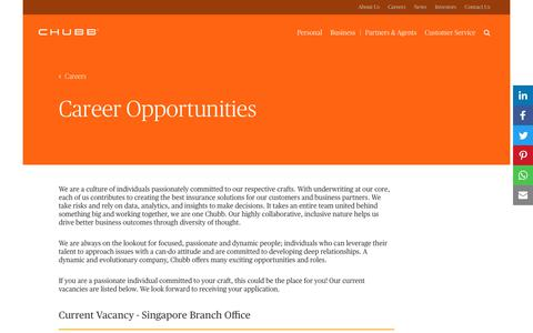 Screenshot of Jobs Page chubb.com - Career Opportunities at Chubb, Singapore - captured March 9, 2018