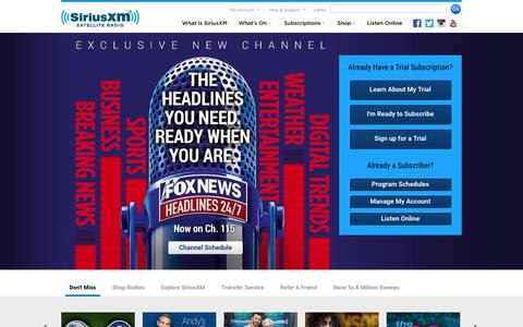 Screenshot of Home Page siriusxm.com - Welcome to the world of satellite radio - SiriusXM Radio - captured Oct. 5, 2015