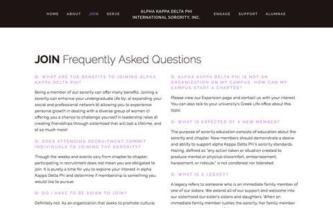 Screenshot of FAQ Page akdphi.org - FAQ — alpha Kappa Delta Phi International Sorority, Inc. - captured Nov. 21, 2016