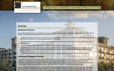 Screenshot of Services Page cambridgehouston.com - Services - captured Oct. 5, 2014