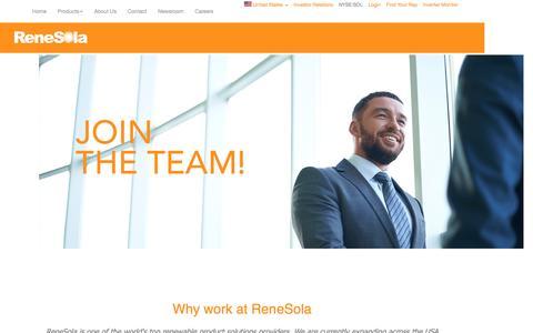 Screenshot of Jobs Page renesola.com - RENESOLA us - captured Aug. 30, 2016