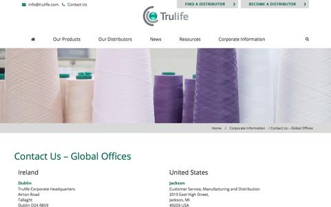 Screenshot of Contact Page trulife.com - Contact Us | Offices | Global |Trulife - captured Nov. 14, 2017