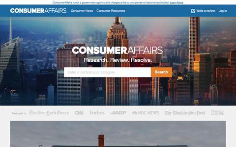 Screenshot of Home Page consumeraffairs.com - ConsumerAffairs.com: Knowledge is Power! Consumer news, reviews, complaints, resources, safety recalls - captured Dec. 12, 2015