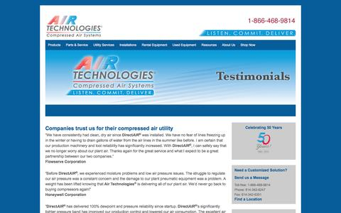Testimonials - Air Compressors, Air Compressor Systems from Air Technologies | Columbus, Cleveland, Cincinnati, Canton, Toledo, Indianapolis, Fort Wayne, Detroit, Grand Rapids, Erie, Pittsburgh, Nitro, Louisville, Lexington