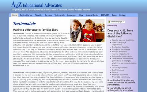Screenshot of Testimonials Page a2zedad.com - Education Attorneys A2Z Educational Advocates, Special Education attorney, Disabilities, Special Needs, Autism, special education lawyer Los Angeles California - captured Feb. 4, 2016