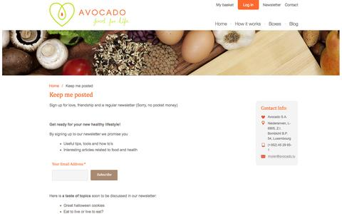 Screenshot of Signup Page avocado.lu - Keep me posted - Avocado - captured Oct. 4, 2014